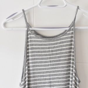 Grey and white stripped tank top